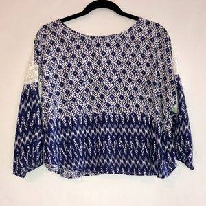 Hazel Navy White Crochet Detail Pattern Top Size S